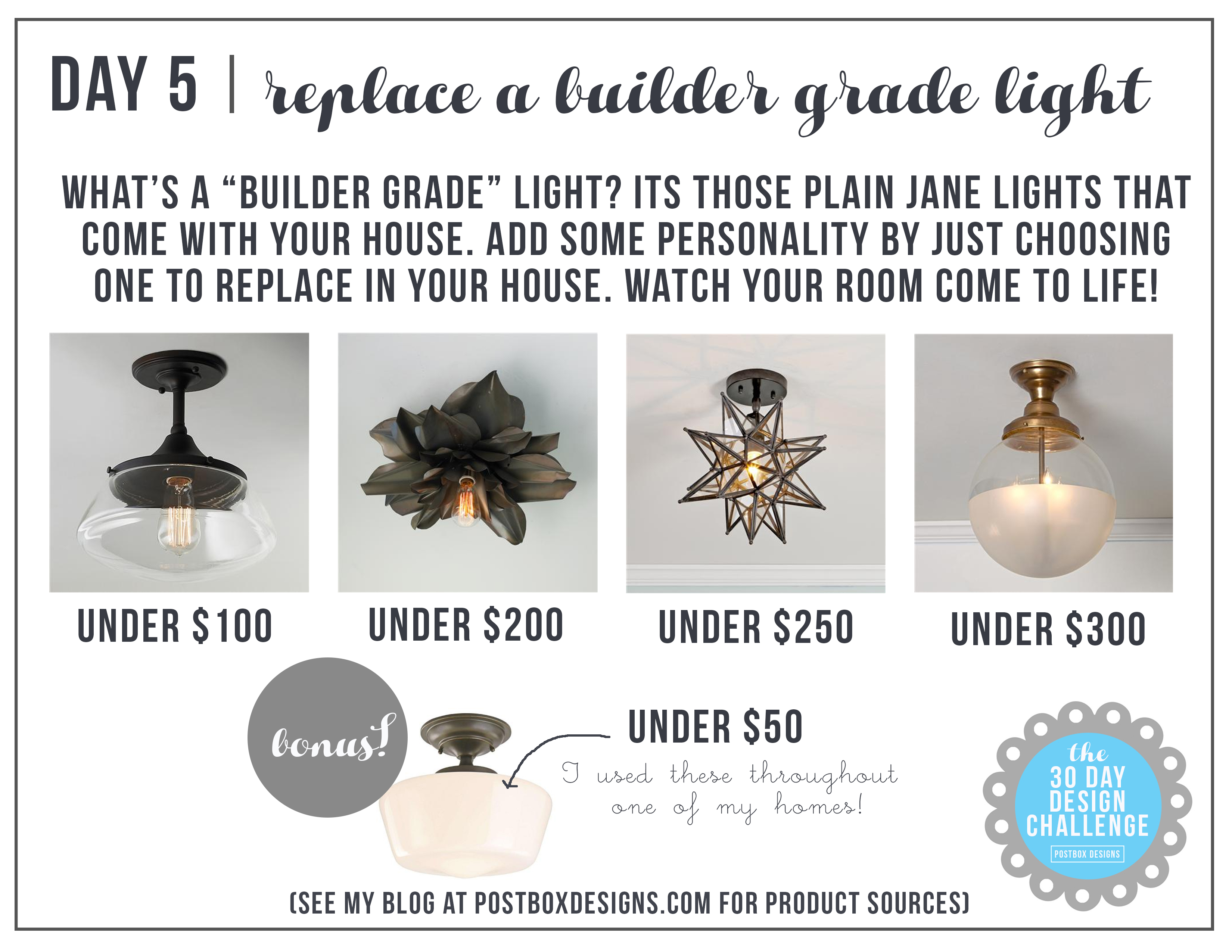 30 day design challenge day 5 replace a builder grade light