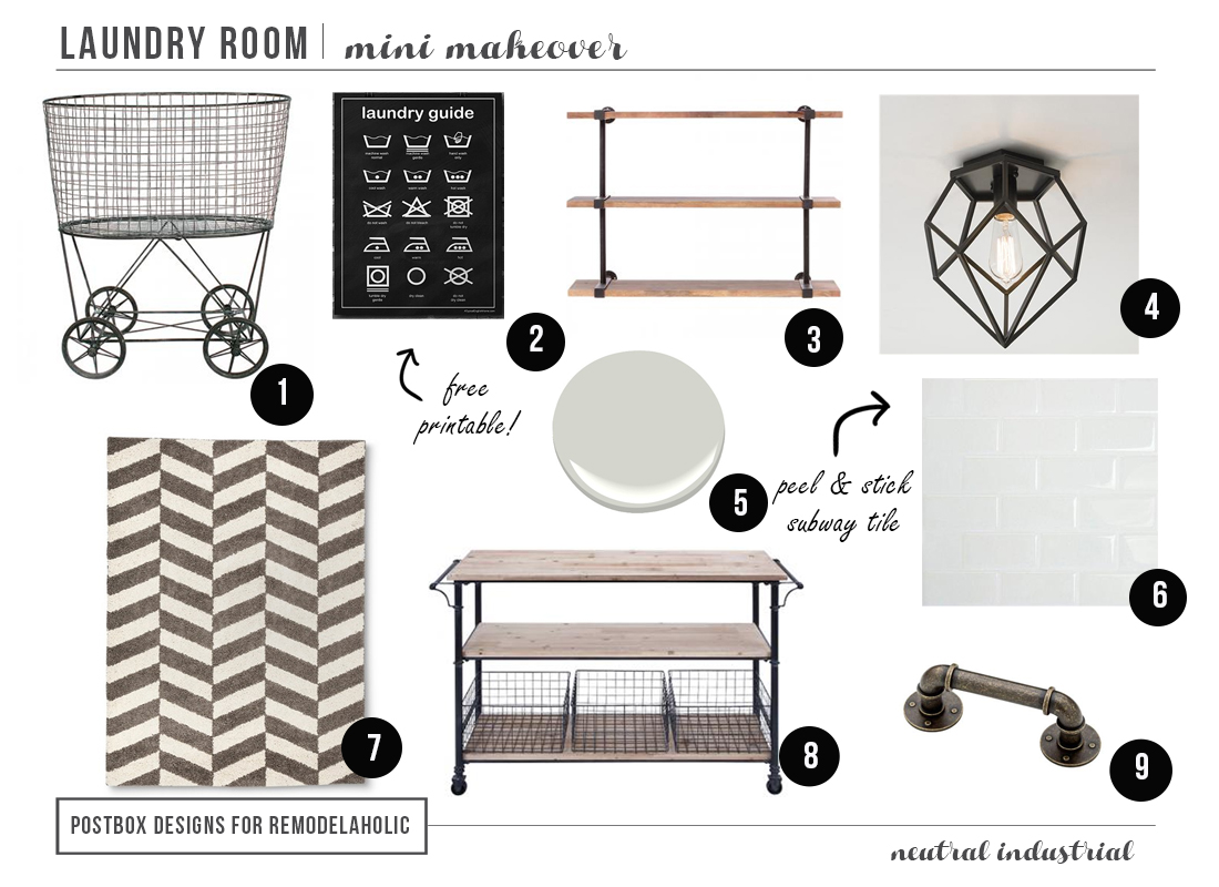 Mini laundry room make over as featured in remodelaholic for Laundry room layouts that work