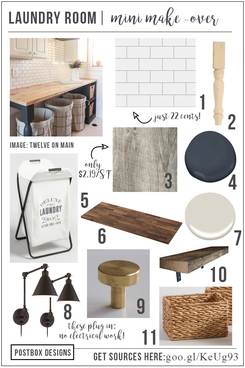 Mini Laundry Room Makeover Mood Board Free Resource