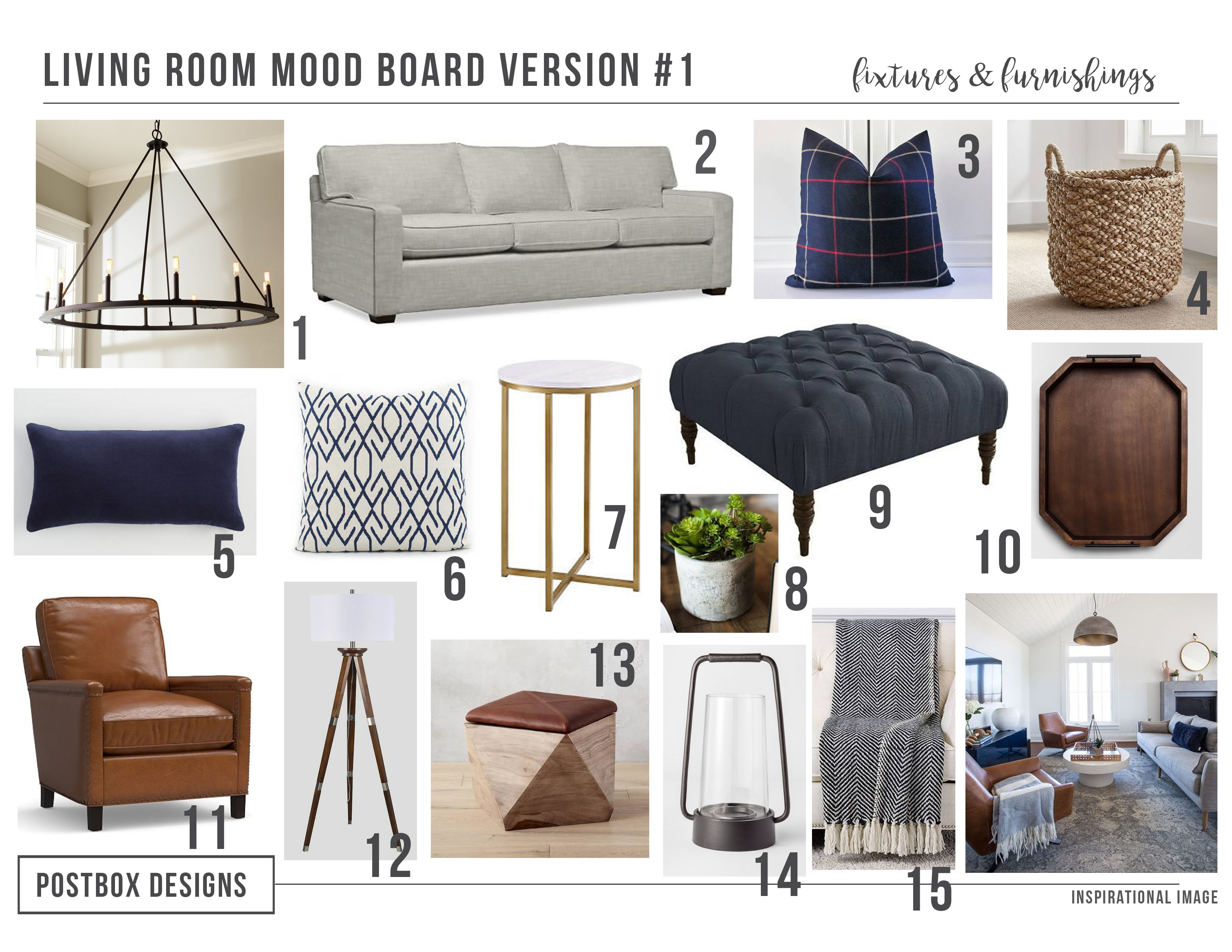 Modern meets farmhouse family room makeover postbox designs for Modern living room mood board