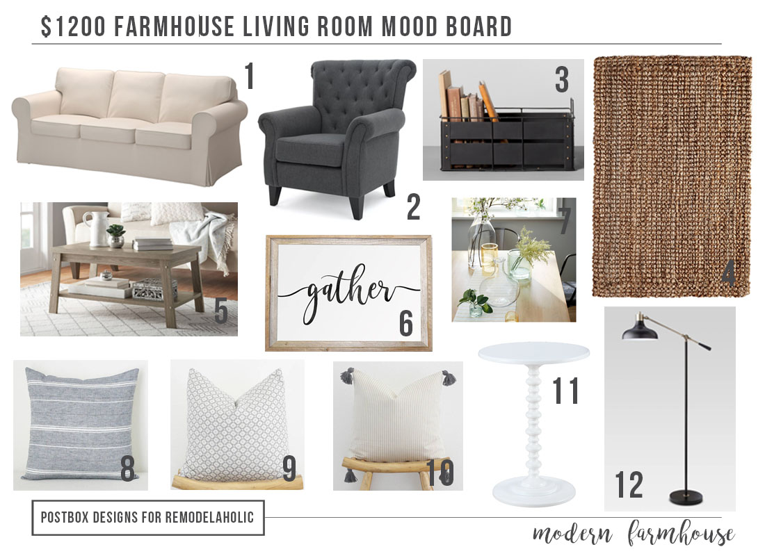1200 modern farmhouse living room free mood board - Interior design shopping websites ...