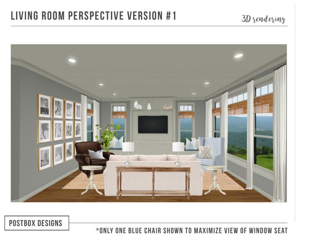 Modern coastal living room makeover postbox designs e design - Design living room online ...