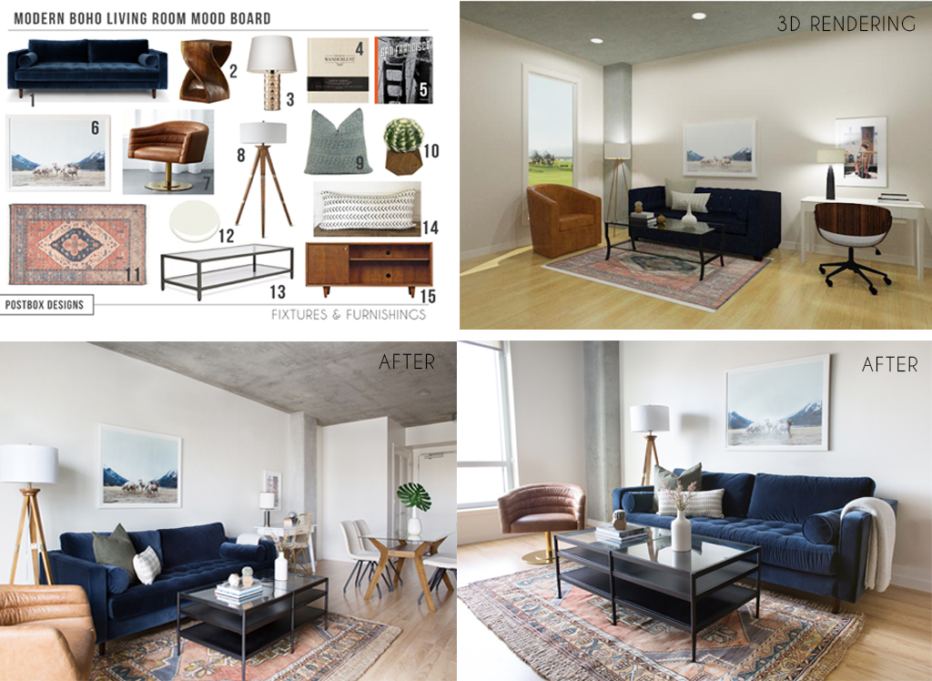 Postbox Designs Interior E Design Modern Boho Living Room